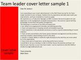 Cover Letter for Team Leader Position Examples Team Leader Cover Letter