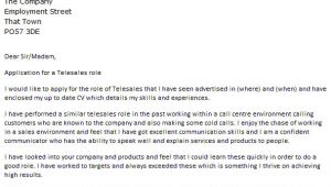 Cover Letter for Telesales Telesales Cover Letter Example Icover org Uk