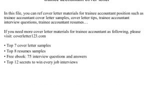 Cover Letter for Trainee Accountant Position Trainee Accountant Cover Letter