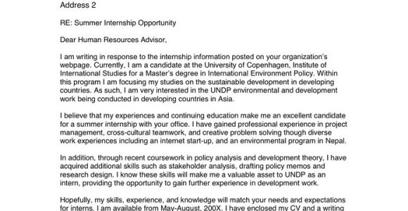 Cover Letter for Un Internship Internship Cover Letter In Word and Pdf formats
