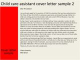 Cover Letter for Working with Children Child Care assistant Cover Letter