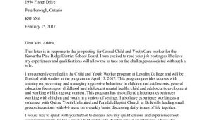 Cover Letter for Working with Youth Child and Youth Worker Cover Letter