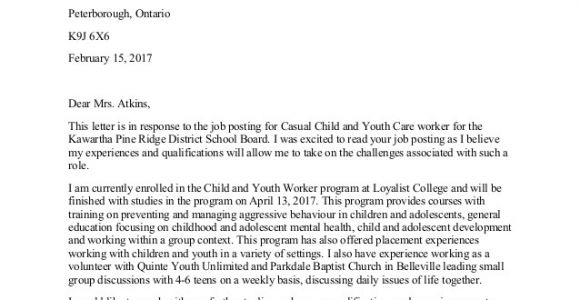 Cover Letter for Youth Worker Position Child and Youth Worker Cover Letter
