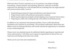 Cover Letter Of An Accountant Best Accountant Cover Letter Examples Livecareer