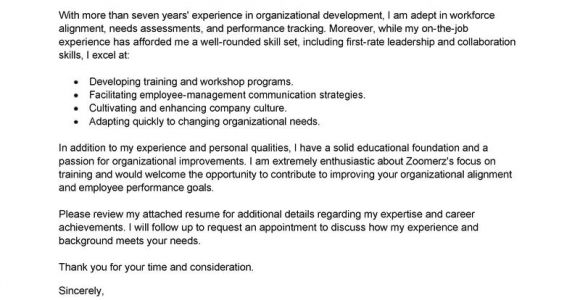 Cover Letter organizational Skills Best organizational Development Cover Letter Examples