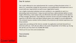 Cover Letter Shop assistant No Experience Shop assistant Cover Letter