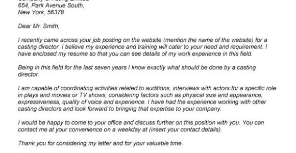 Cover Letter to Casting Director Cover Letter to Casting Director the Letter Sample