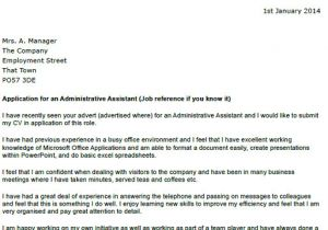 Cover Letters for Executive assistants Administrative assistant Cover Letter Example Icover org Uk