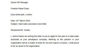 Cover Letters for Retail Sales associate 10 Retail Cover Letter Templates to Download for Free