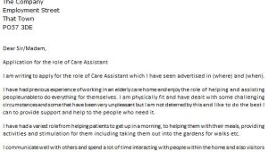 Covering Letter for Care assistant Care assistant Cover Letter Example Icover org Uk