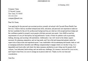 Covering Letter for Personal assistant Professional Personal Care assistant Cover Letter Sample