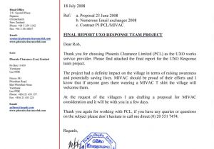 Covering Letter for Project Report Xe Ban Fai District Lao Pdr Mivac