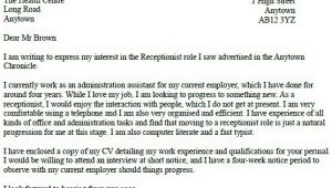 Covering Letter for Receptionist Role Receptionist Job Application Cover Letter Example