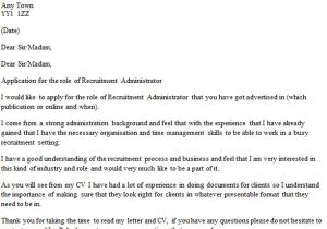 Covering Letter for Recruitment Consultant Recruitment Administrator Cover Letter Example Icover org Uk