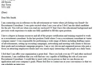 Covering Letter for Recruitment Consultant Recruitment Consultant Cover Letter Example In Cover