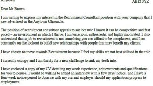 Covering Letter for Recruitment Consultant Recruitment Consultant Cover Letter Example Lettercv Com