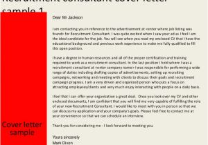 Covering Letter for Recruitment Consultant Recruitment Consultant Cover Letter