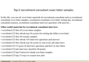 Covering Letter for Recruitment Consultant top 5 Recruitment Consultant Cover Letter Samples