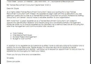Covering Letter for Recruitment Consultant Trainee Recruitment Consultant Cover Letter Sample Cover