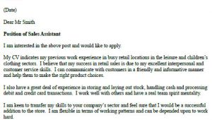 Covering Letter for Sales assistant Sales assistant Cover Letter Example Icover org Uk
