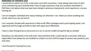 Covering Letter for Volunteer Work Application Letter to Be A Volunteer Help Dissertation