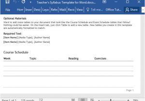 Create A Syllabus Template Teacher 39 S Syllabus Template for Word