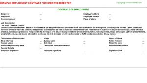 Creative Director Contract Template Creative Director Employment Contracts