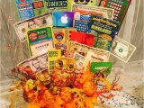 Creative Gift Card Basket Ideas Fall Basket with Lottery Tickets Money and Gift Cards