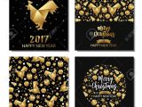 Creative New Year Card Design Set Of Xmas and New Year Golden Metallic Greeting Cards Invitations