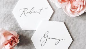 Creative Place Card Ideas for Weddings White Hexagon Place Cards In Acrylic Wedding Cards
