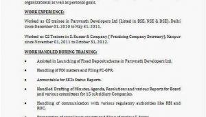 Cs Fresher Resume format Cs Fresher Cv format