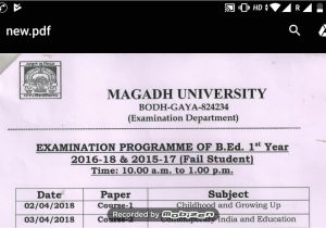 Csjm University Back Paper Admit Card B Ed 1st and 2nd Year Exam Date Sheet 2018 Youtube