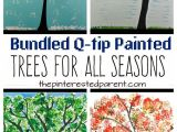 Cue Card topic Beautiful Person Bundled Q Tip Trees for Every Season Fall Arts and Crafts