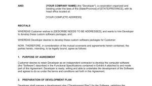 Custom software Development Contract Template Custom software Development Agreement Template Sample
