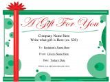 Customizable Christmas Gift Certificate Template Free Printable Gift Certificate Template Free Christmas