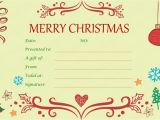 Customizable Christmas Gift Certificate Template Xmas Gift Certificate Template Invitation Template