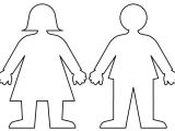 Cut Out Character Template Little Girl Body Outline Template Nextinvitation Templates