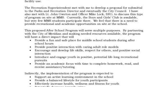 Dance Program Proposal Template Program Proposal for after School Program Free Download