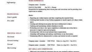 Dance Student Resume Dance Teacher Resume Dancing Job Description Example