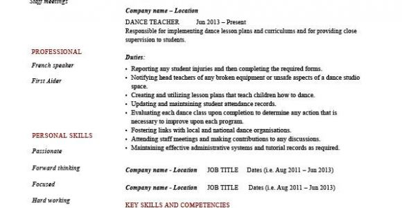 Dance Student Resume Dance Teacher Resume Dancing Job Description Example