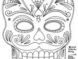 Day Of the Dead Skull Mask Template Sugar Skull with Roses Coloring Pages Az Coloring Pages