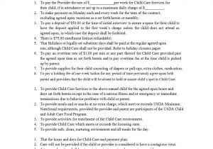 Daycare Contract Template 50 Daycare Child Care Babysitting Contract Templates