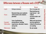 Difference Between Job Application and Resume Resume Vs Cv