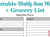 Dinner Menu Template for Home Printable Weekly Menu Planner Template Plus Grocery List