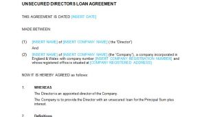 Directors Loan to Company Agreement Template Unsecured Directors Loan Agreement Template Bizorb