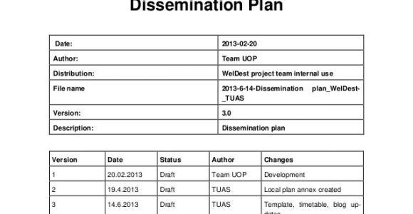 Dissemination Plan Template Weldest Dissemination Plan 2012 2014