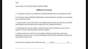 Divorce Affidavit Template Affidavit Of Consent form Divorce Affidavit Sample Template