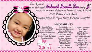 Diy Hello Kitty Invitation Card Hello Kitty Invitation for Christening and 1st Birthday