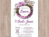 Diy Invitation Card for Christening Baptism Invitation Girl Printable Floral Purple Girl Baptism