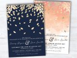 Diy Invitation Card for Christening Navy and Gold Botanic Engagement Invitation Peach and Gold
